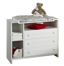 Commode avec à langer 3 tiroirs bois laqué blanc Eco Stripe