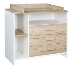 Commode avec plan à langer 3 tiroirs bois blanc et chêne clair Eco Plus