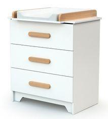 Commode avec plan à langer bois blanc et hêtre clair Gavroche