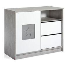 Commode avec plan à langer bois gris et blanc Eco Star