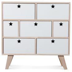 Commode bois scandinave 7 tiroirs blanc étoiles Norvik