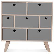 Commode bois scandinave 7 tiroirs gris étoiles Norvik