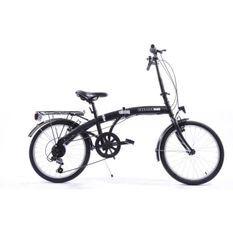 COMPACT Vélo pliant noir cadre en acier 6 vitesses