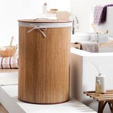 COMPACTOR Panier a linge rond en bambou naturel 40xH60 cm