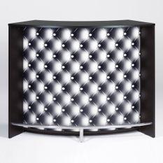 Comptoir de bar 2 portes noir et imprimé capiton noir Snack 134