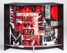 Comptoir de bar 2 portes noir et imprimé rock Snack 134