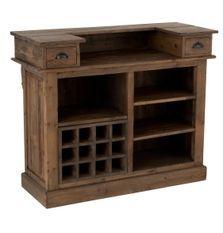 Comptoir de bar 2 tiroirs 5 niches bois massif foncé Jibel