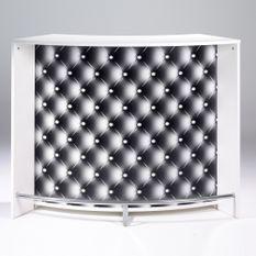 Comptoir de bar blanc et imprimé capiton noir Snack 134