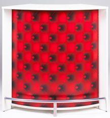 Comptoir de bar blanc imprimé capiton rouge Snack 106