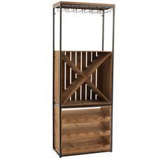 Armoire bar bois massif foncé et pieds métal noir Cora