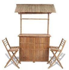 Comptoir de bar et 2 tabourets bambou clair Kyca