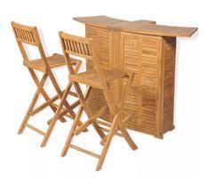 Comptoir de bar et 4 chaises hautes teck massif clair Aqual