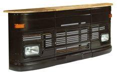 Comptoir de bar manguier massif et métal gris foncé Mobil 256 cm
