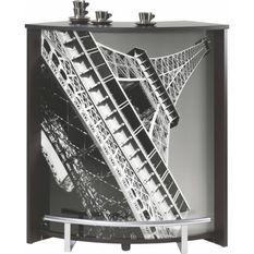 Comptoir de bar noir et imprimé Tour Eiffel Snack 96