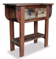 Console 2 tiroirs 1 étagère bois massif recyclé Moust