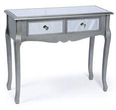 Console 2 tiroirs miroir argent Venio