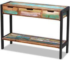 Console 3 tiroirs 1 étagère bois massif recyclé Moust 110 cm