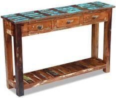 Console 3 tiroirs 1 étagère bois massif recyclé Moust