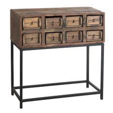 Console 8 tiroirs bois massif recyclé foncé et métal noir Veeda