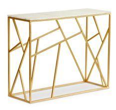 Console design marbre blanc et pieds métal doré Ozuli 100 cm