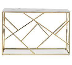 Console effet marbre blanc et pieds métal doré Loulou 120 cm
