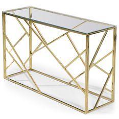 Console en verre transparent et pieds métal doré Loulou