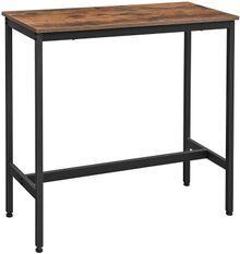 Table haute industriel bois vintage et acier noir Kaza 100 cm