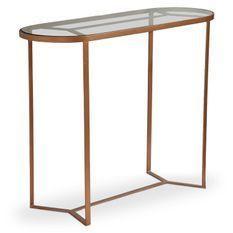 Console verre et pieds métal cuivré Otilla 100 cm