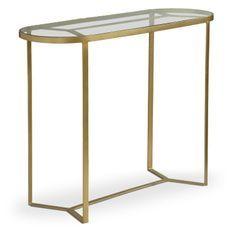 Console verre et pieds métal doré Otilla 100 cm