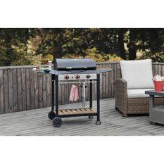 COOKINGBOX Barbecue gaz 3 feux en acier effet bois avec pince inox offerte