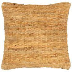 Coussin chindi Brun roux 60x60 cm Cuir et coton