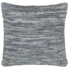 Coussin chindi Gris 60x60 cm Cuir et coton