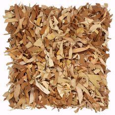 Coussin shaggy Brun roux 60x60 cm Cuir et coton