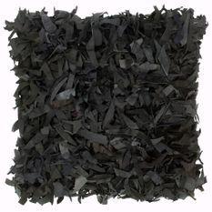 Coussin shaggy Noir 60x60 cm Cuir et coton