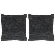 Coussins chindi 2 pcs Noir 45x45 cm Cuir et coton