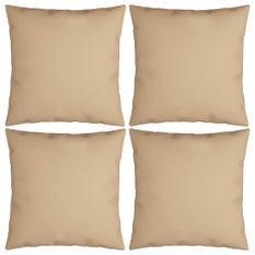 Coussins décoratifs 4 pcs Beige 40x40 cm Tissu