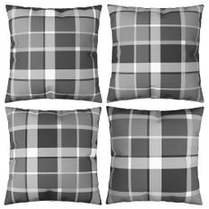 Coussins décoratifs 4 pcs Carreaux gris 50x50 cm Tissu