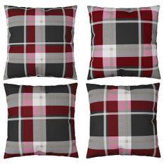 Coussins décoratifs 4 pcs Carreaux rouges 60x60 cm Tissu