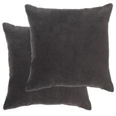 Coussins en velours de coton 2 pcs 45 x 45 cm Anthracite