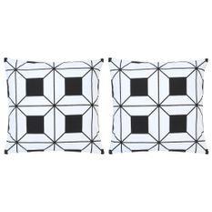 Coussins imprimés 2 pcs Noir et blanc 40x40 cm Coton