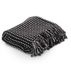 Couverture coton à carreaux 160 x 210 cm Noir