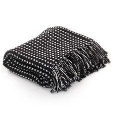 Couverture coton à carrés 220 x 250 cm Noir