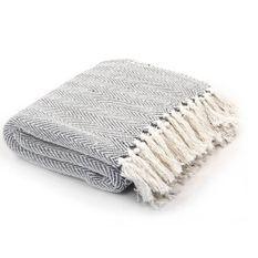 Couverture coton à chevrons 160 x 210 cm Gris