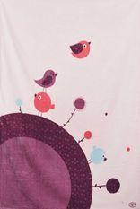 Couverture microfibre Microdoux rose imprimée birdy Doux Nid