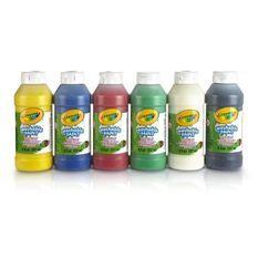 Crayola - 6 Bouteilles de peinture lavable - Peinture et accessoires