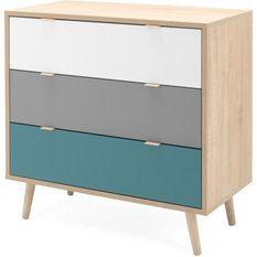 Commode 3 tiroirs - Style scandinave - Décor chene Sonoma - L 80 x P 40 x H 80 cm