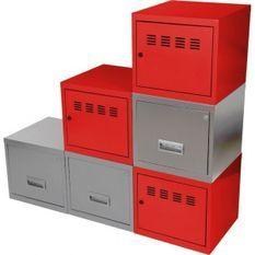 Cubes métal 3 portes 3 tiroirs rouge et gris alu Ebony - Lot de 6