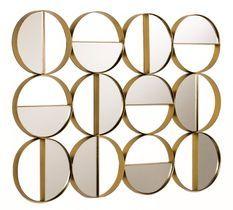 Décor mural multi-ronds miroir et métal doré Kaïra L 79 x H 60 x P 3 cm