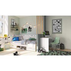 DEMEYERE Chambre complete enfant - Lit + bureau - Blanc - LILA