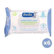 DODIE Lot de 6 paquets de lingettes biodégradables - Eau - Bébé mixte